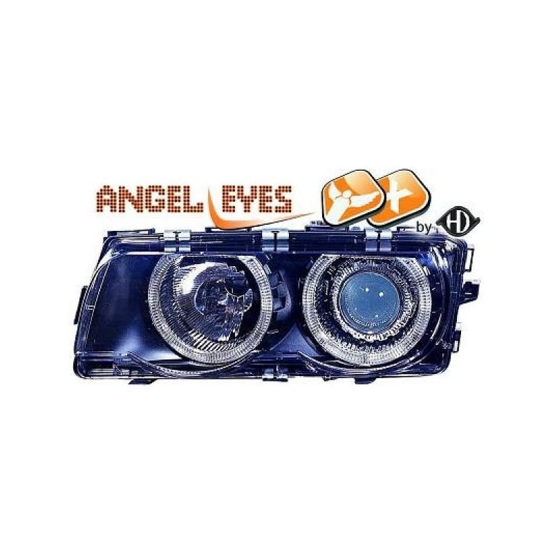 Phares angel eyes XENON noir Bmw E38 98-01