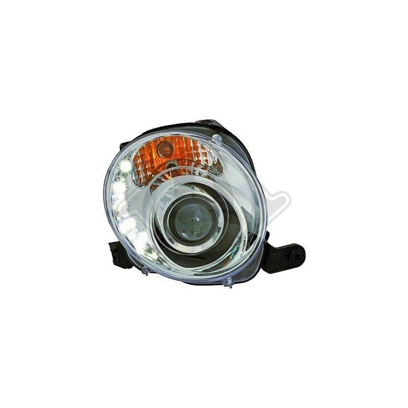 Phares devil eyes Fiat 500 apres 2007 cristal/chrome