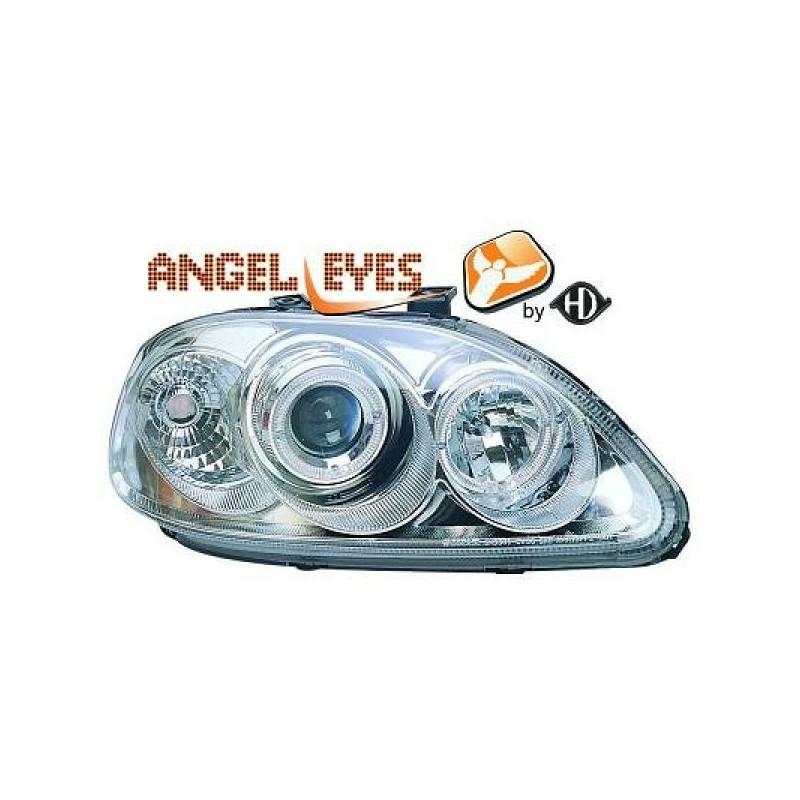 Phares angel eyes chrome Honda CIVIC 96-99