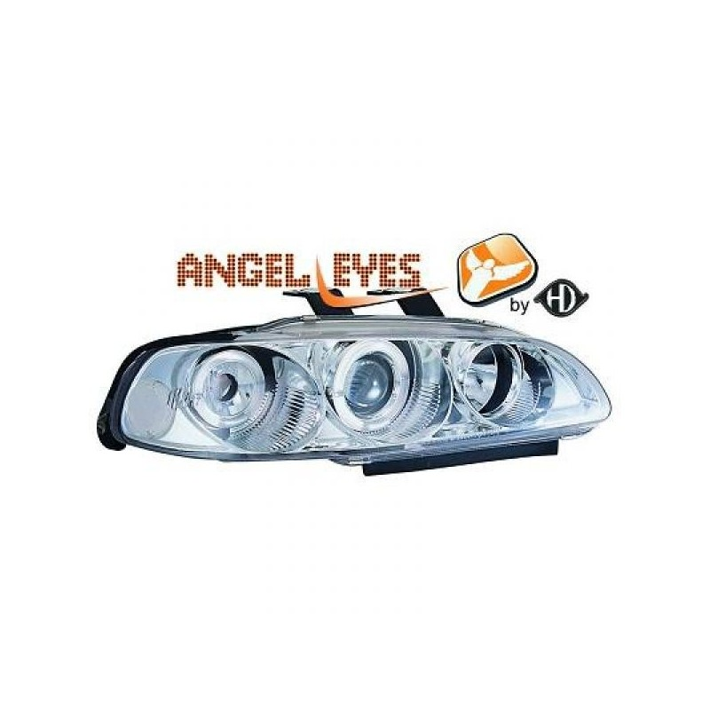 Phares angel eyes chrome Honda CIVIC 92-95 2/3-portes