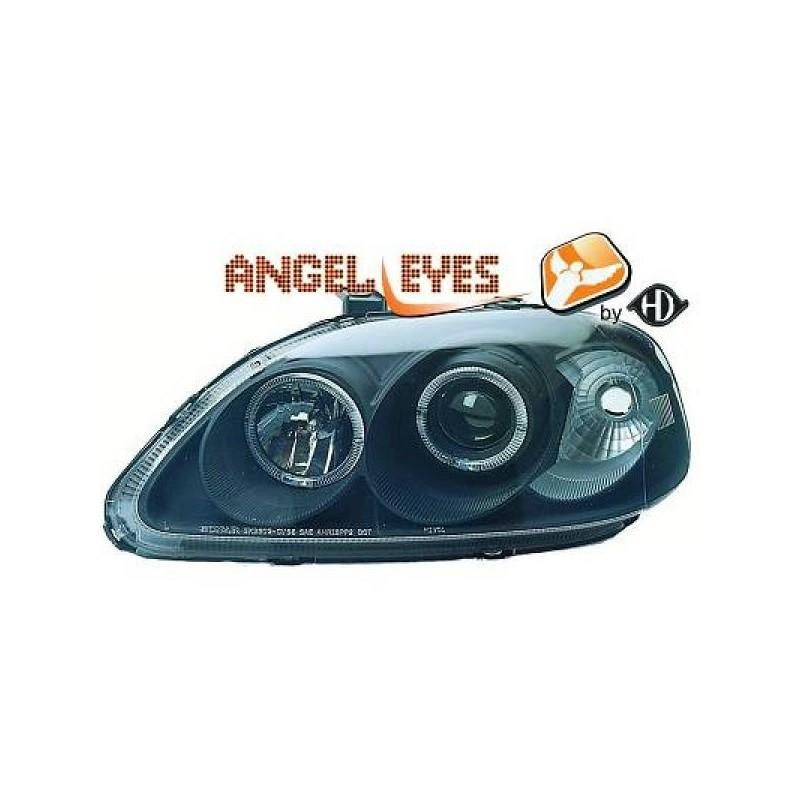 Phares angel eyes noir Honda CIVIC 99-01