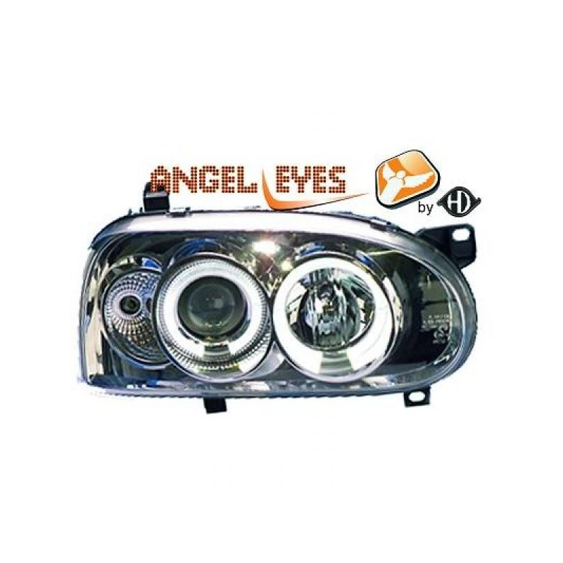 Phares angel eyes chrome Vw GOLF 91-97