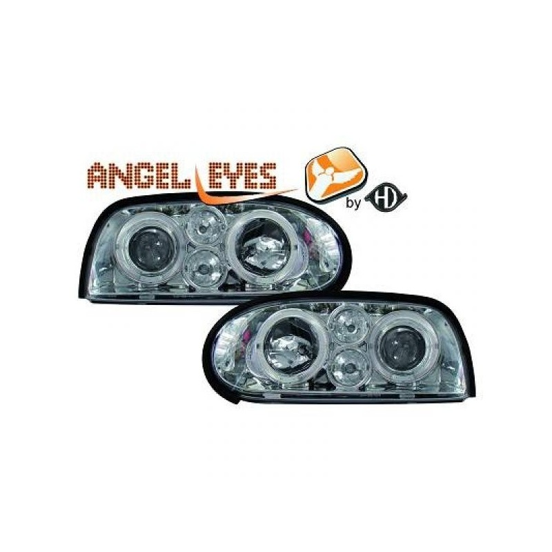 Phares angel eyes chrome Look GOLF 4 Vw GOLF 3 91-97