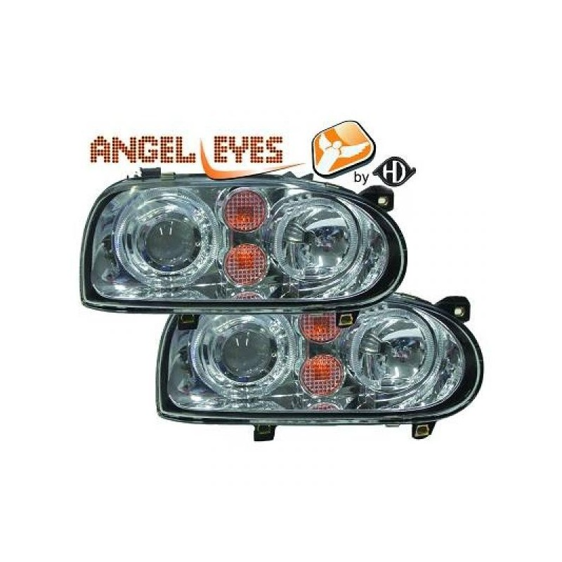 Phares angel eyes chrome Look GOLF 4 pour GOLF 3 91-97