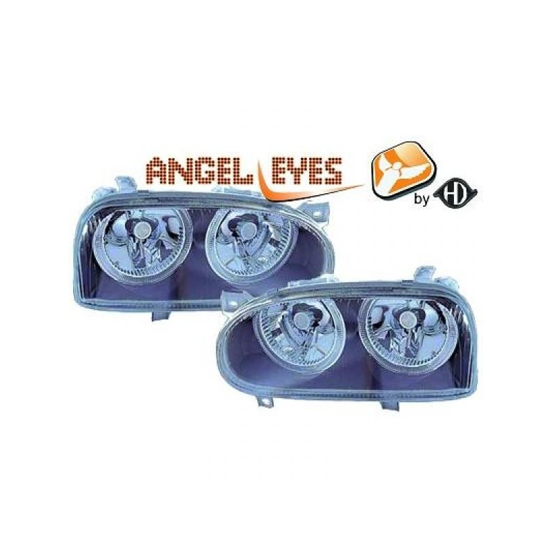 Phares angel eyes noir Vw GOLF 91-97