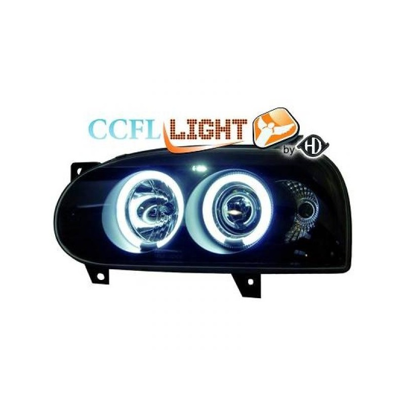 Phares angel eyes CCFL noir Vw GOLF III 92-97