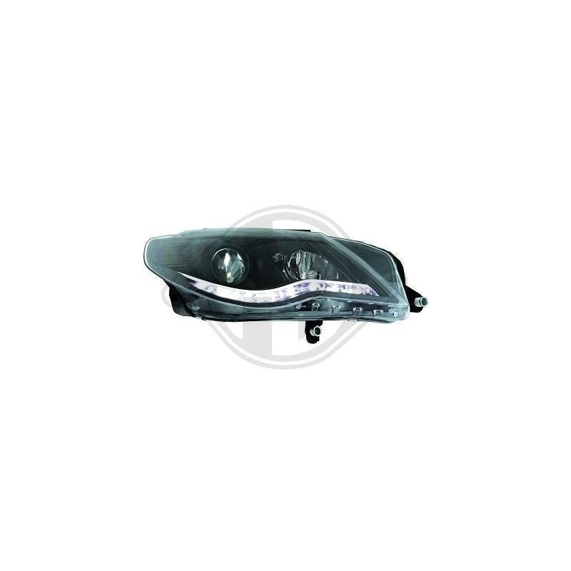 Phares devil eyes LED Vw Passat CC 08-12 cristal/noir