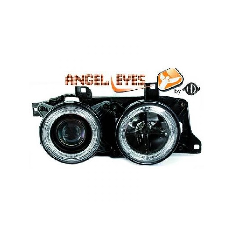 Phares angel eyes noir Bmw E32/34 88-95