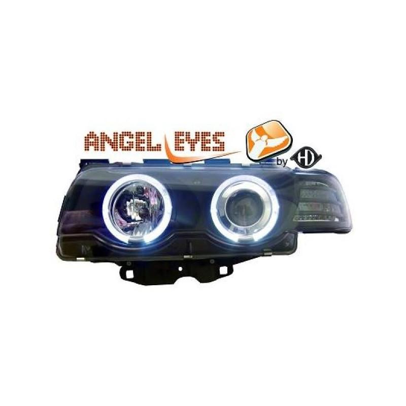 Phares angel eyes noir Bmw E38 98-01