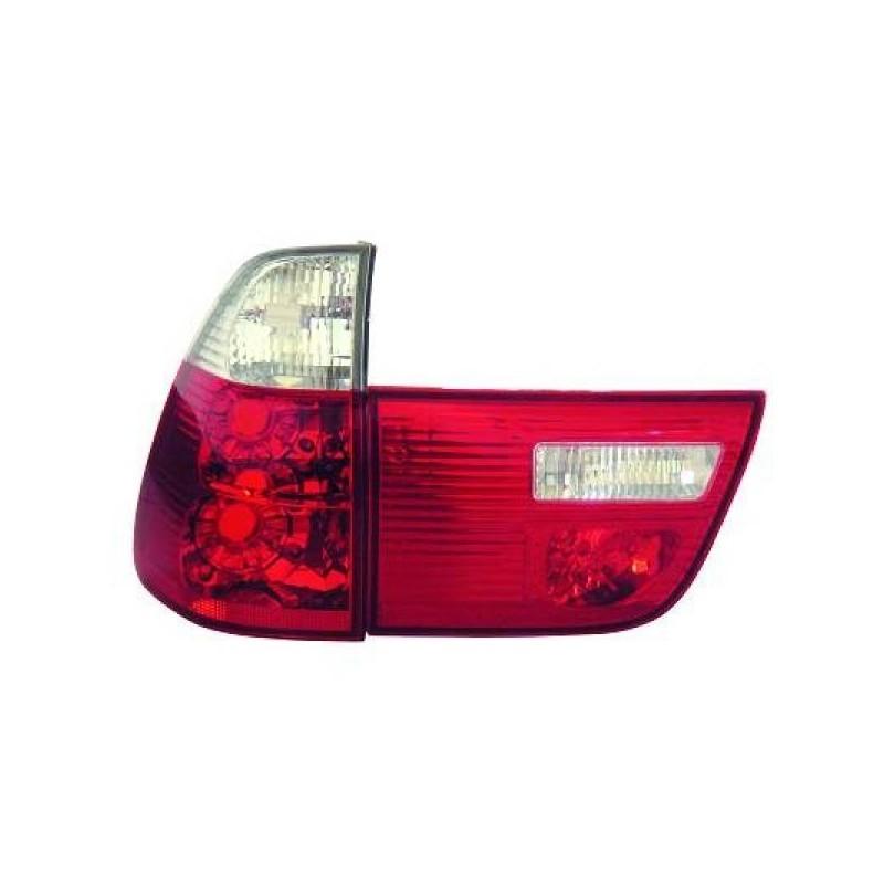 Phares design rouge/blanc Bmw X5 99-03 en 4 parties
