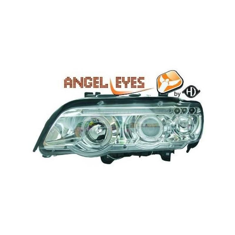 Phares angel eyes chrome Bmw X5 99-03