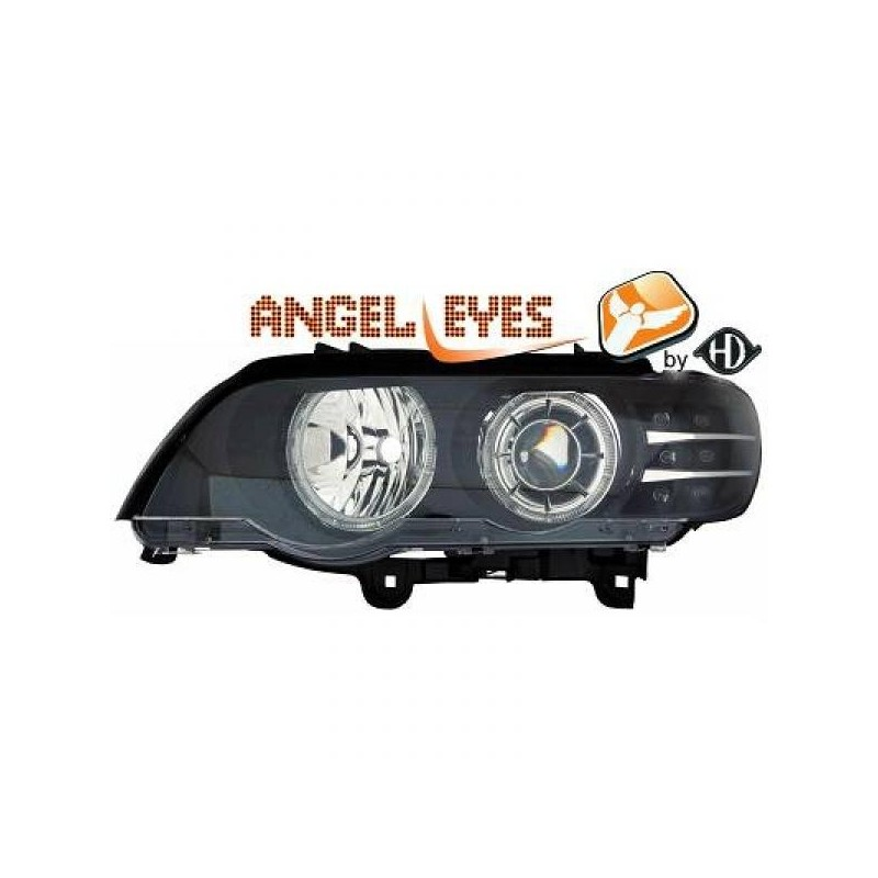 Phares angel eyes noir LED BMW X5 99-03