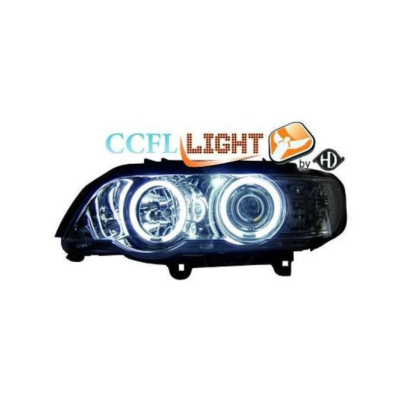 Phares angel eyes CCFL chrome BMW X5 99-03