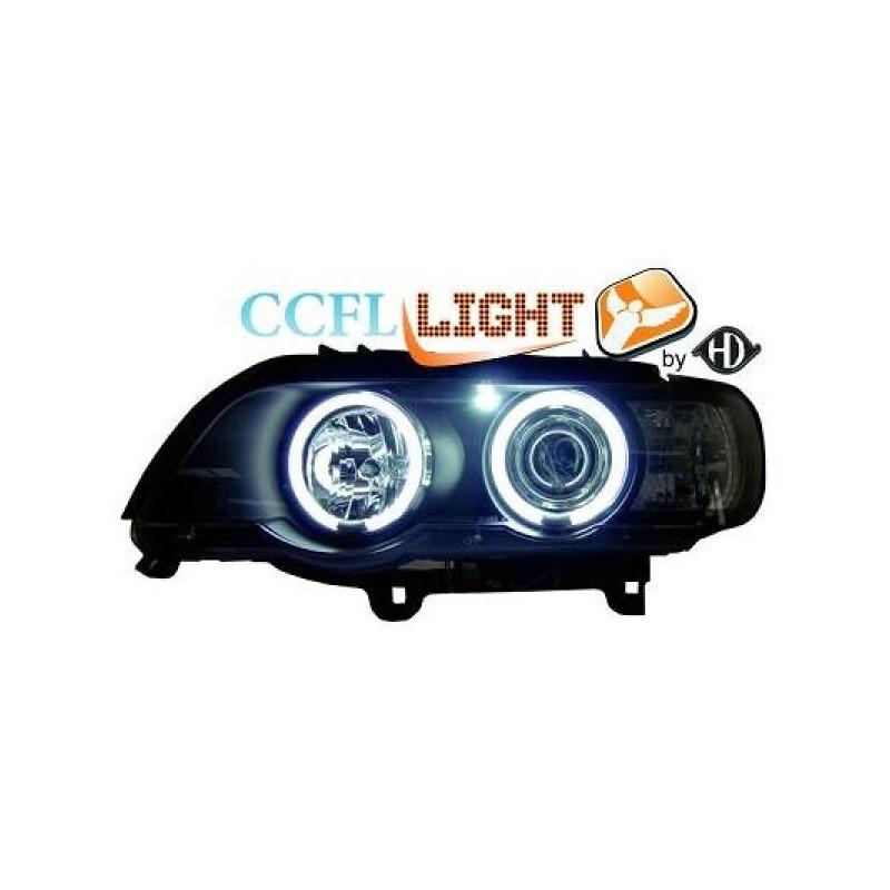 Phares angel eyes CCFL noir BMW X5 99-03