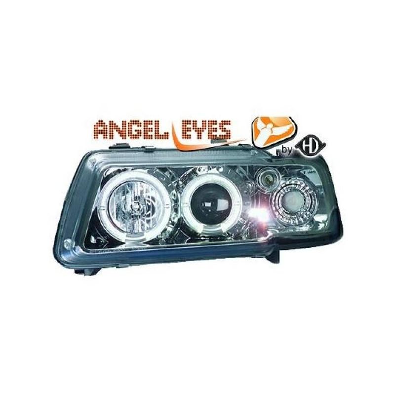 Phares angel eyes chrome Audi A3 96-00