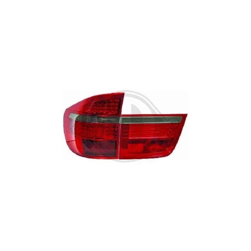 Feux arrières design LED BMW X5 07-10 LED cristal/rouge-fumé
