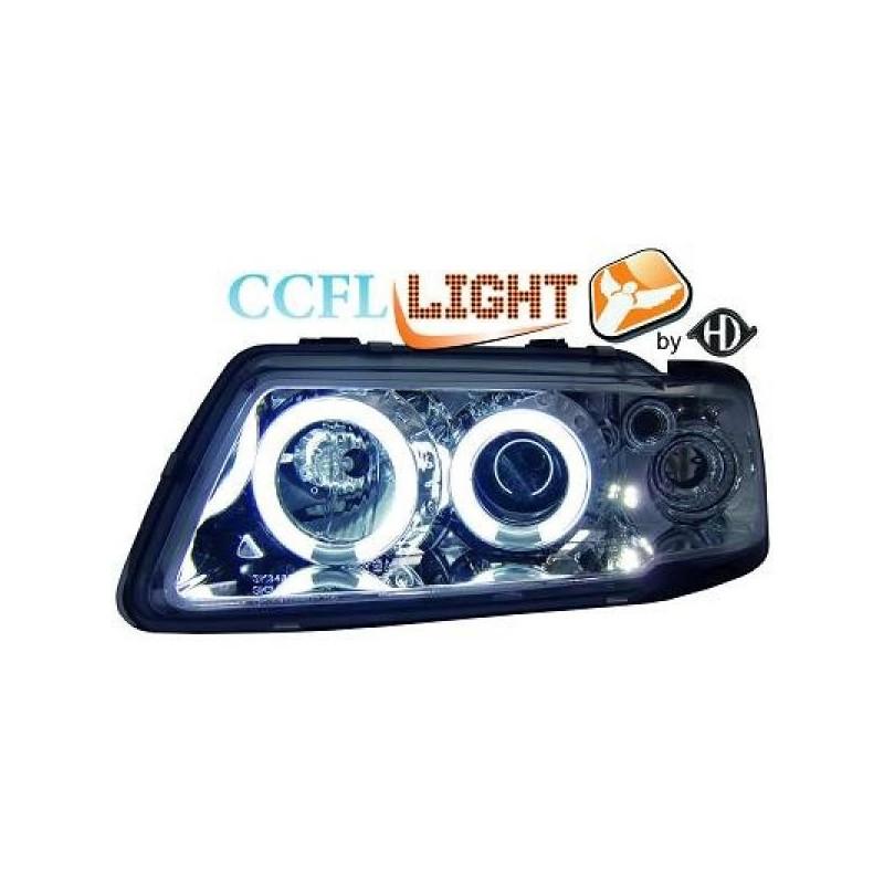 Phares angel eyes CCFL cristal/chrome Audi A3 96-00