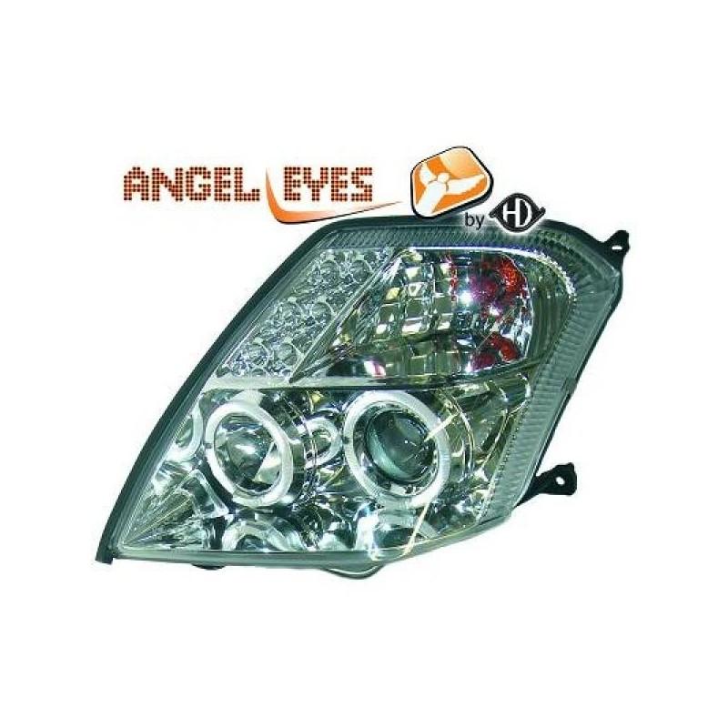 Phares angel eyes cristal/chrome Citroen C2 03-10