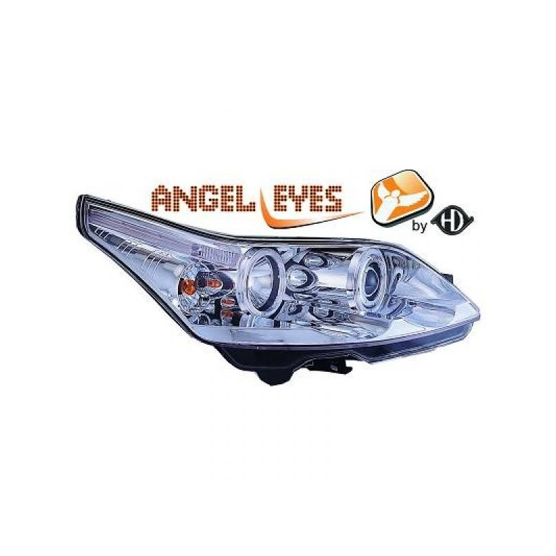 Phares angel eyes chrome Citroen C4 04-09 3-portes