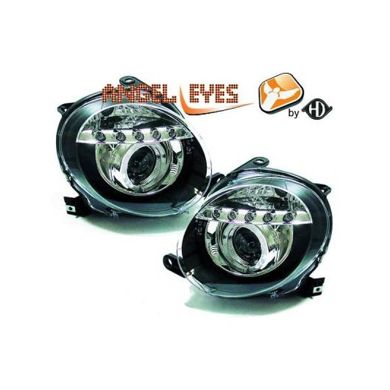 Phares angel eyes chrome FIAT 500 apres 2007