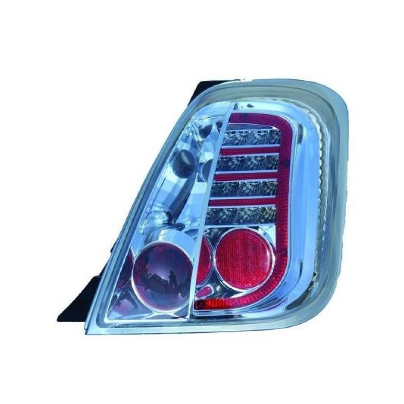 Feux arrières LED chrome FIAT 500 apres 2007