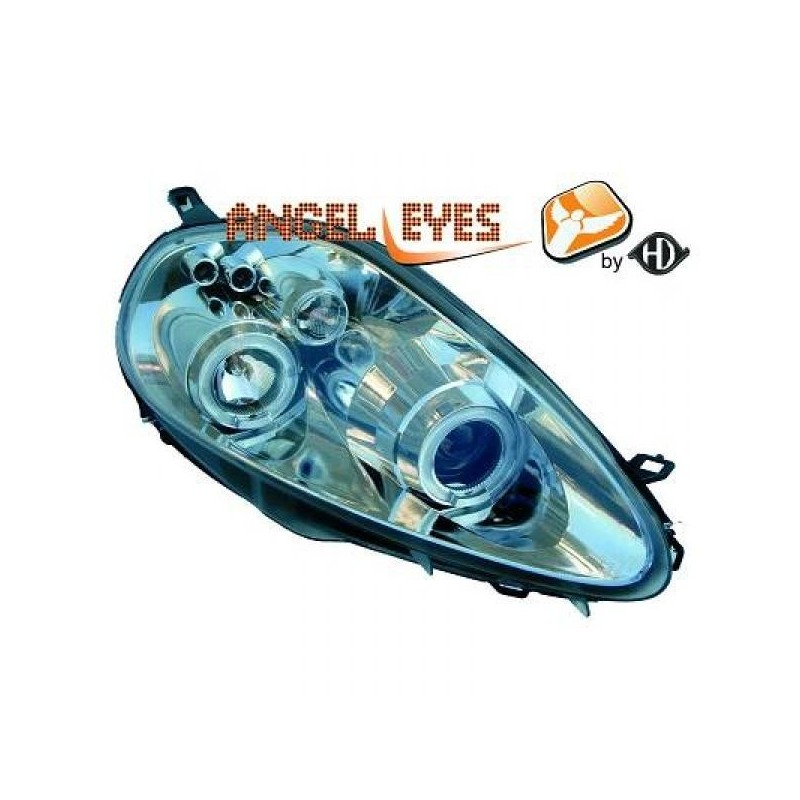 Phares angel eyes chrome Fiat Grande PUNTO 2005-10.2008
