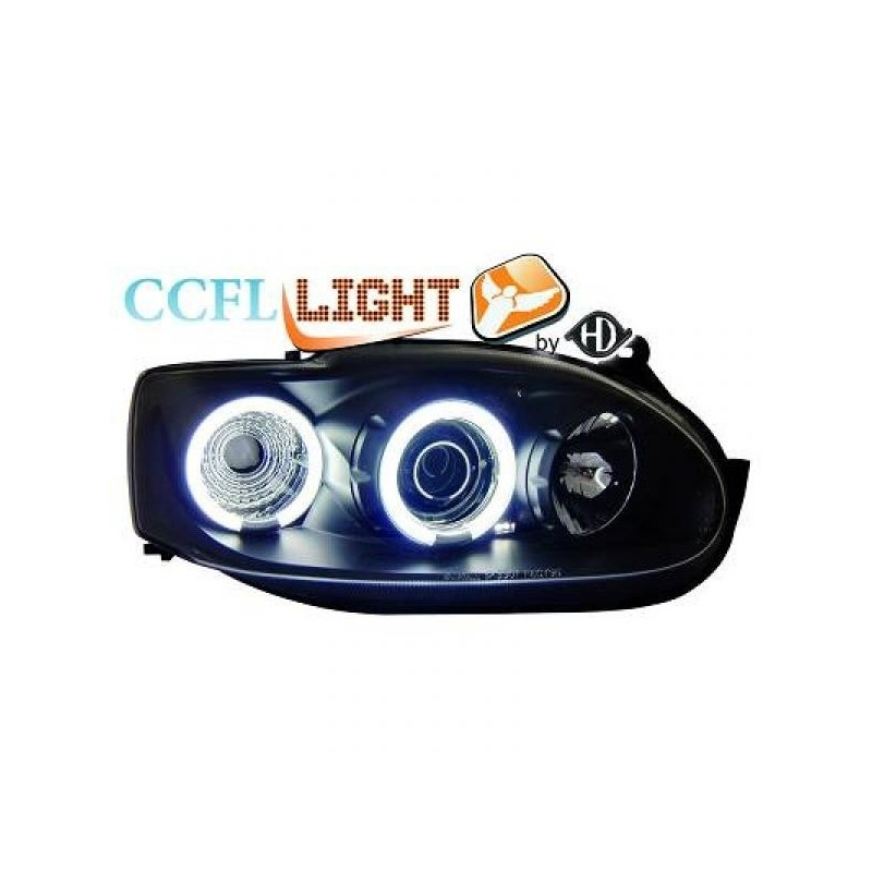 Phares angel eyes CCFL noir Ford ESCORT 95-04 cristal/noir