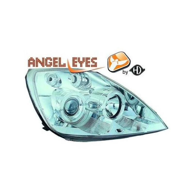 Phares angel eyes chrome Ford FIESTA 02-05