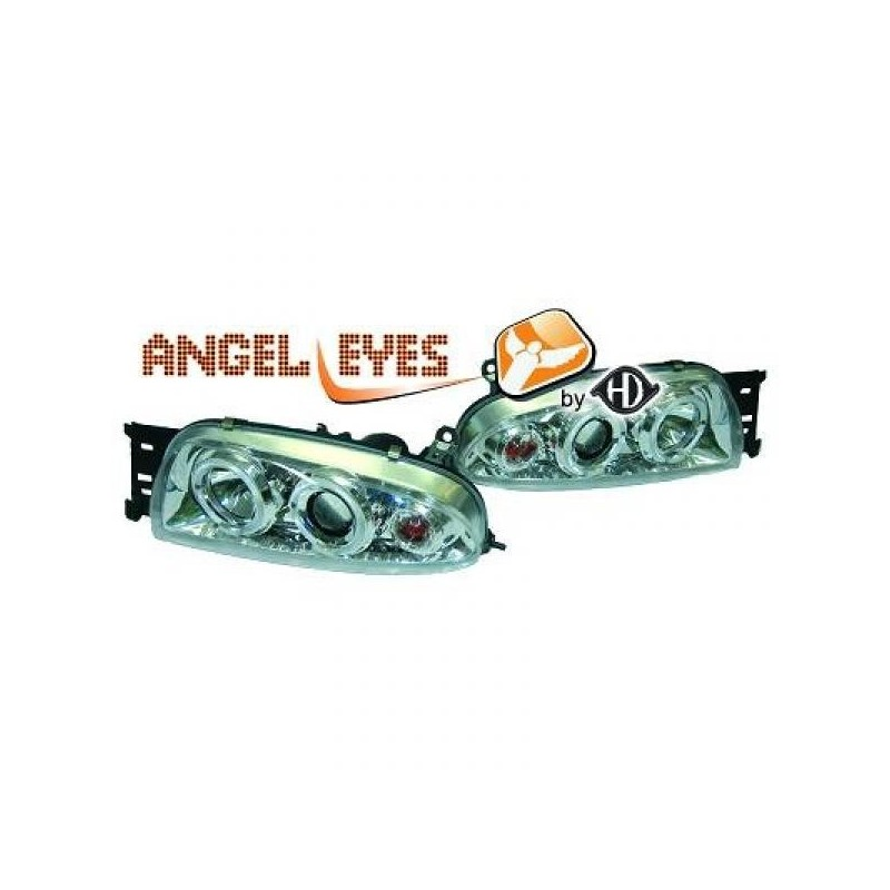 Phares angel eyes chrome . Ford FIESTA 95-99