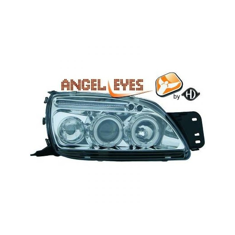 Phares angel eyes chrome . Ford FIESTA 99-02