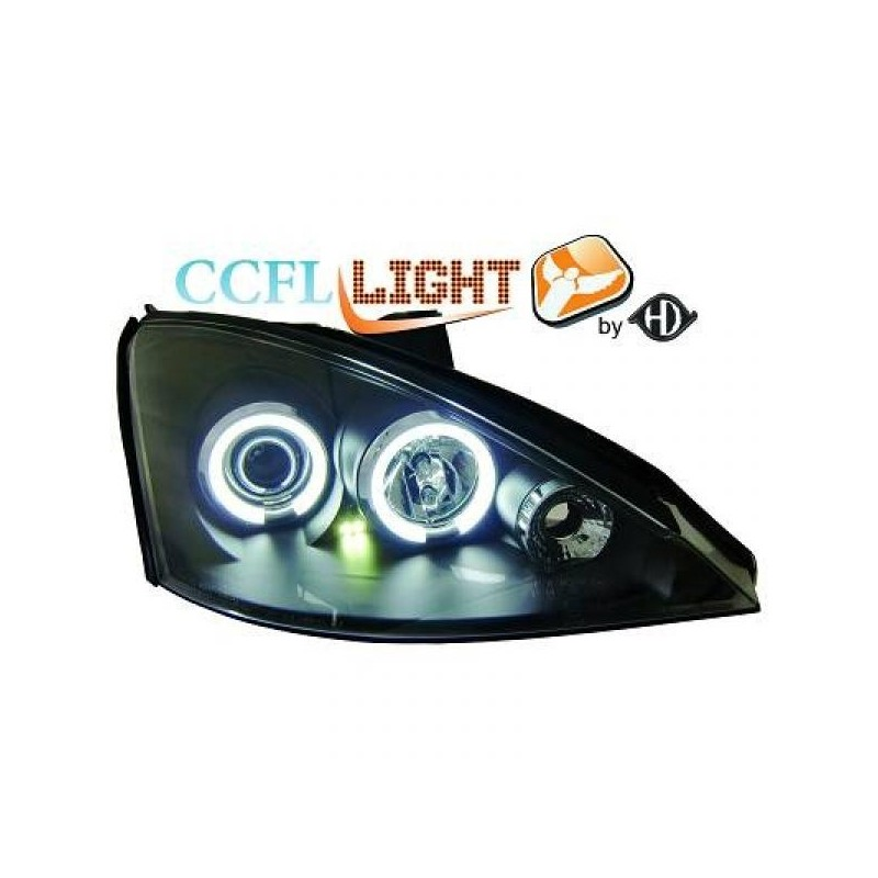 Phares angel eyes CCFL noir Ford FOCUS 98-00 cristal/noir