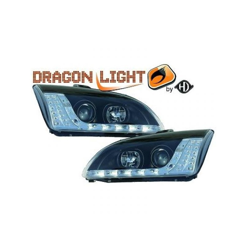 Phares Avant DEVIL EYES noir Ford FOCUS 04-08 Clignotant LED