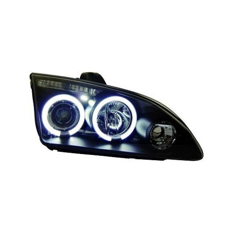 Phares angel eyes CCFL noir Ford FOCUS 04 4/5-portes