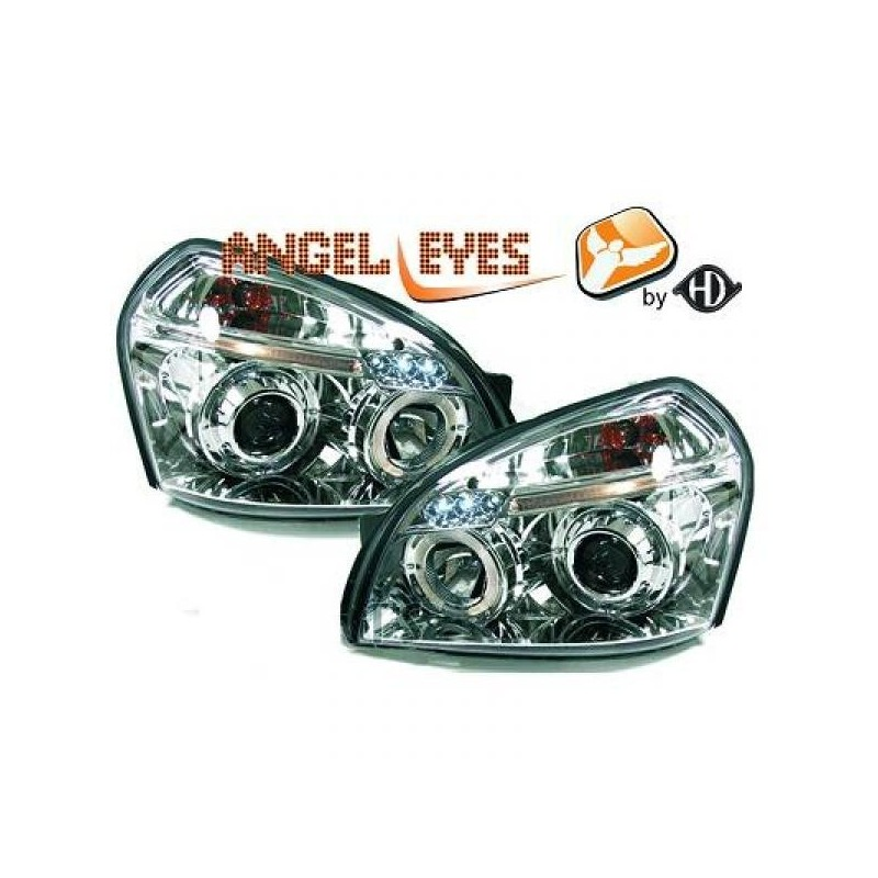 Phares angel eyes chrome Hyundai TUCSON apres 2004