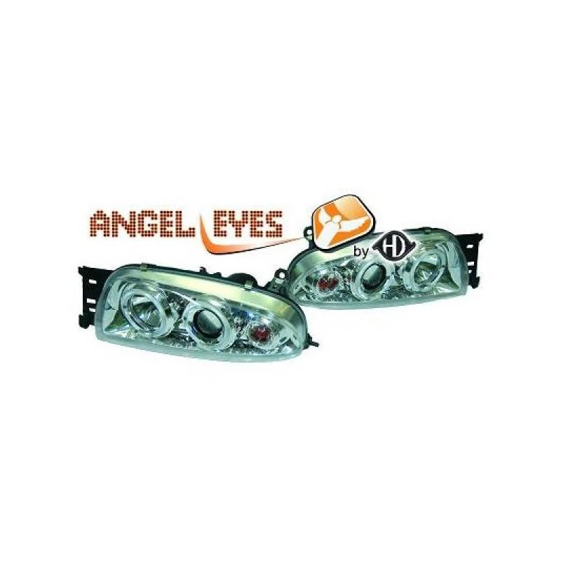 Phares angel eyes chrome Mazda 121 96-99