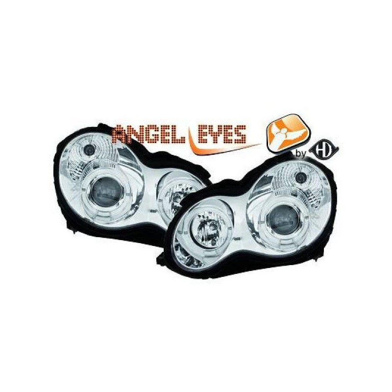 Phares angel eyes chrome Mercedes W203 00-04