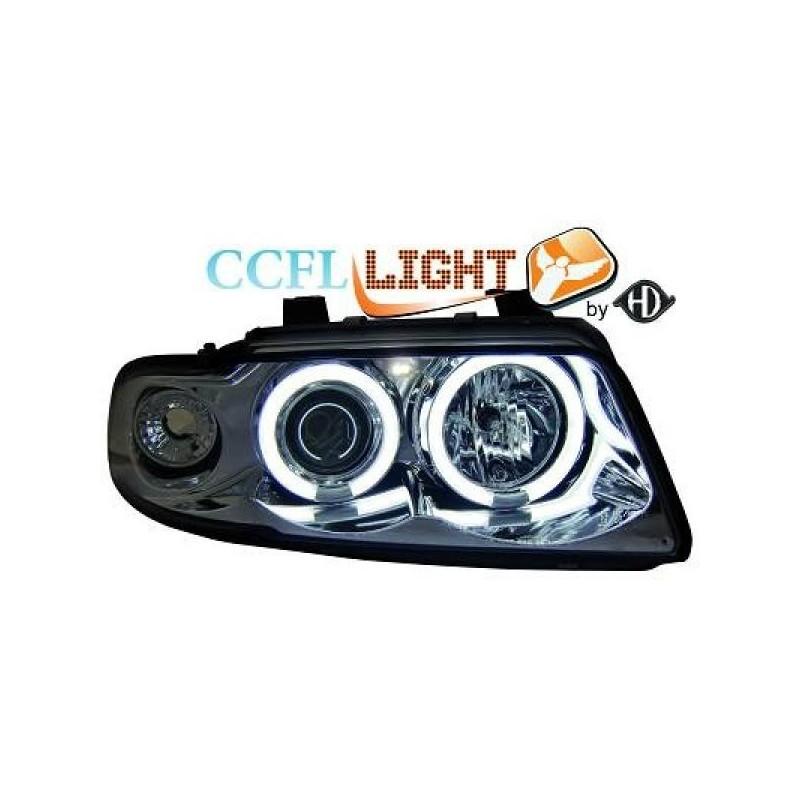 Phares angel eyes CCFL cristal/chrome Audi A4 95-98