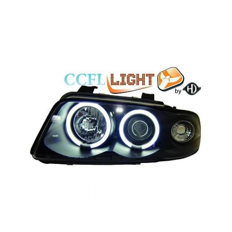 Phares angel eyes CCFL cristal/noir Audi A4 95-98