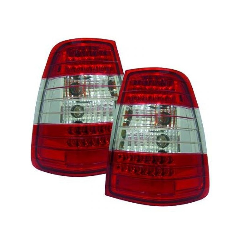Feux arrières cristal/rouge-blanc LED Mercedes W124 Break 85-95