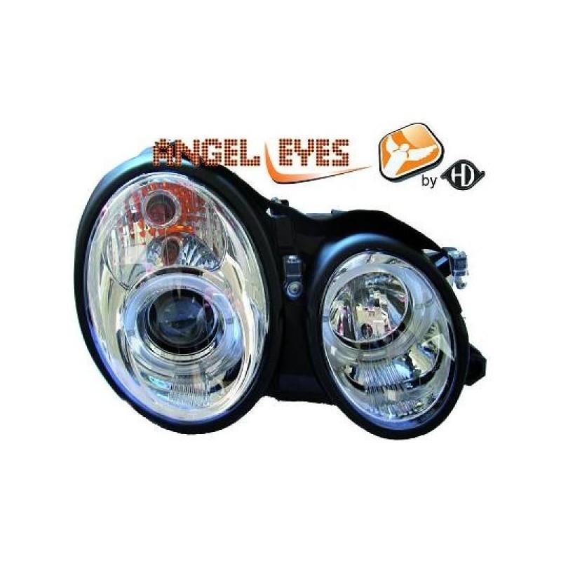 Phares angel eyes chrome . Mercedes W208 97-02
