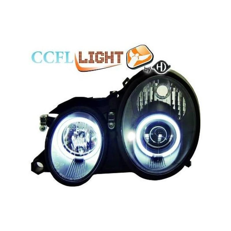 Phares angel eyes CCFL noir CLK Mercedes W208 98-02
