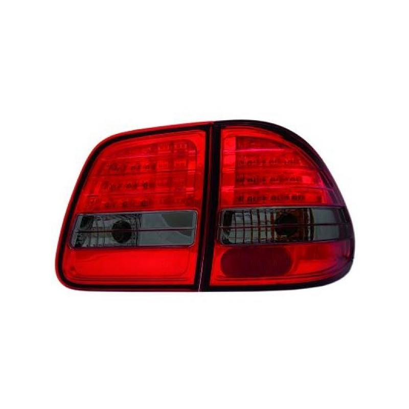 Feux arrières rouge/noir LED en 4 parties Mercedes W210 Break 95-02