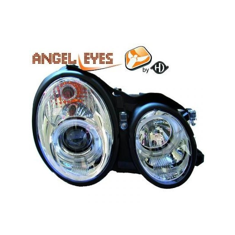 Phares angel eyes chrome Mercedes W210 95-99