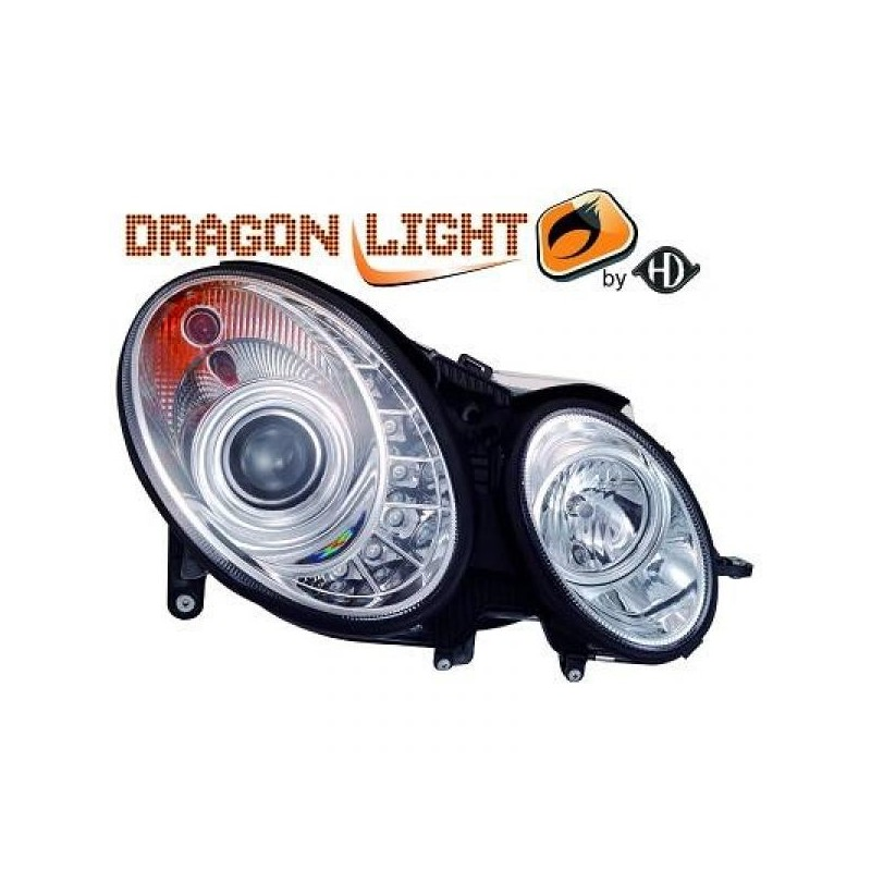 Phares Avant DEVIL EYES chrome Mercedes classe E W211 06-09 LED