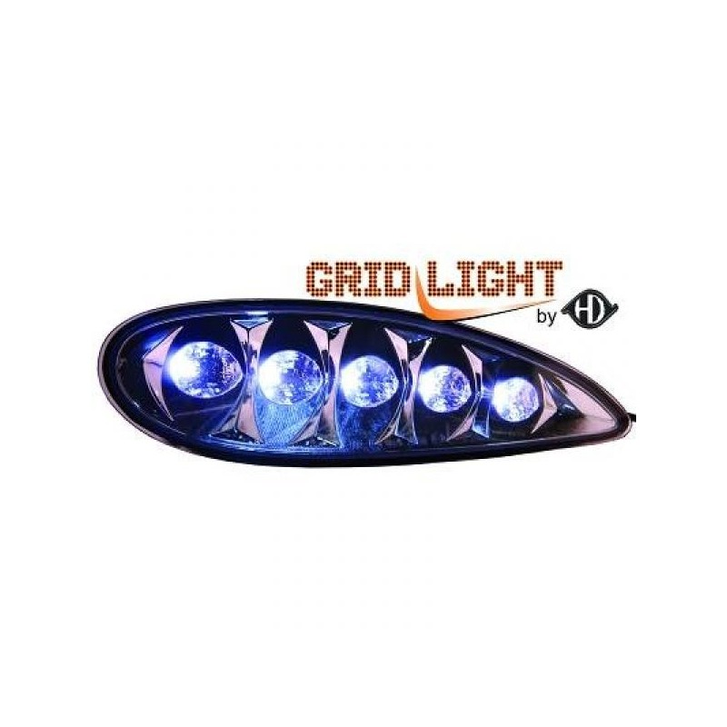 Feux de jour diurnes avec grilles Mercedes W220 02-05 cristal/chrome