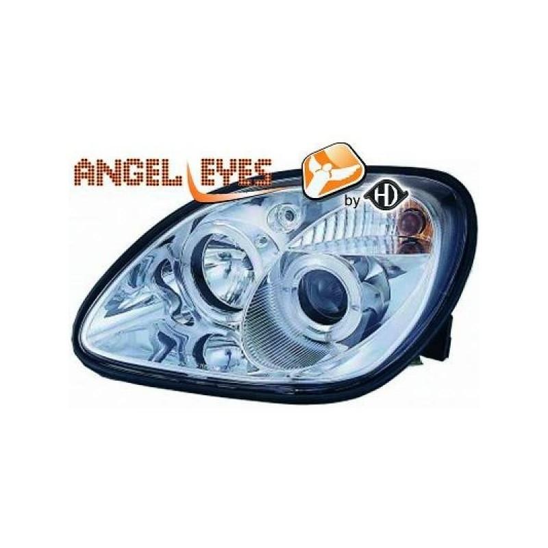 Phares angel eyes chrome Mercedes SLK 96-04