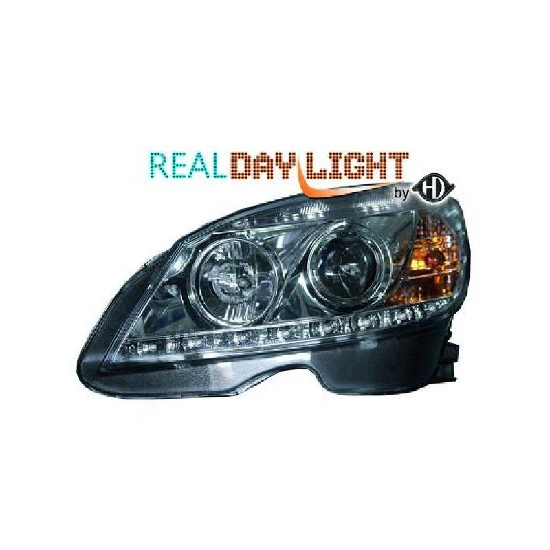 Phares DEVIL EYES Mercedes W204 07-11 cristal/chrome