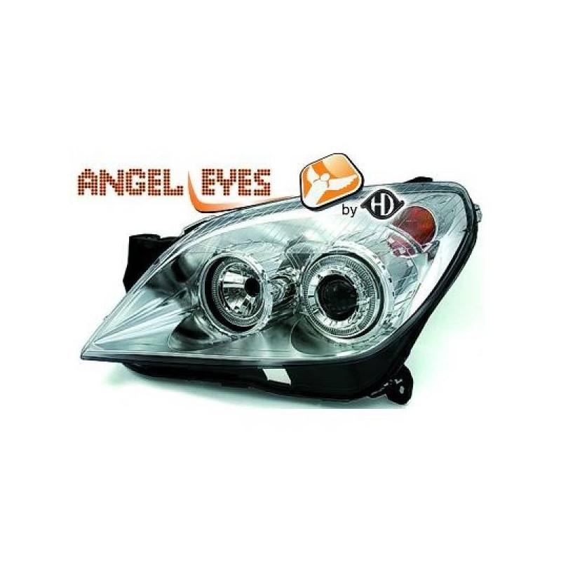 Phares angel eyes chrome Opel ASTRA 04-09
