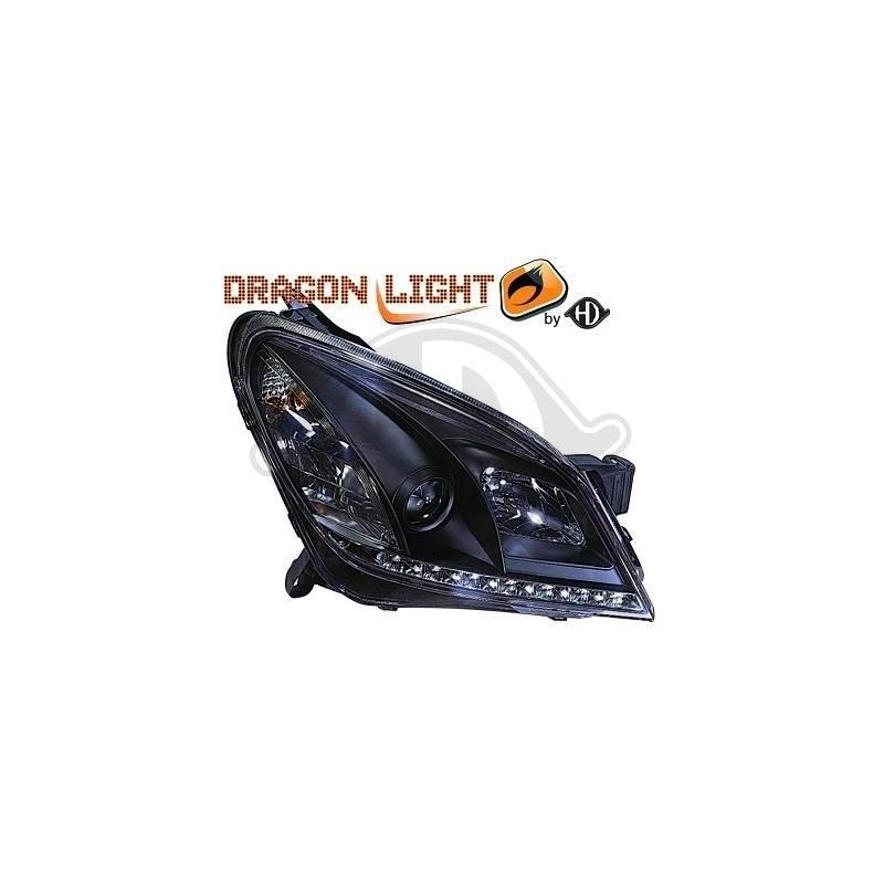 Phares DEVIL EYES LED Opel ASTRA H 04-09 cristal/noir