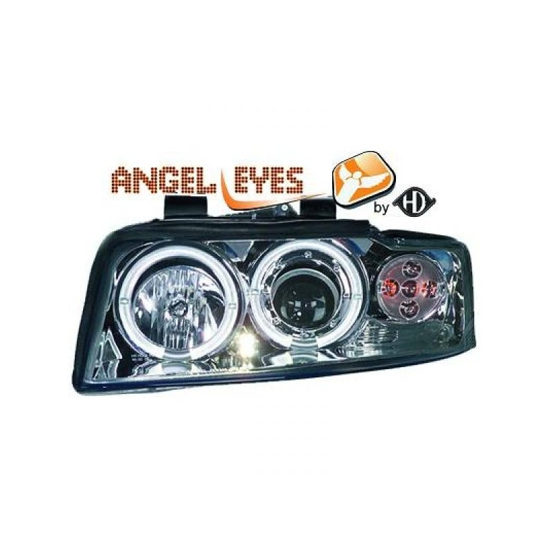 Phares angel eyes chrome Audi A4 00-04
